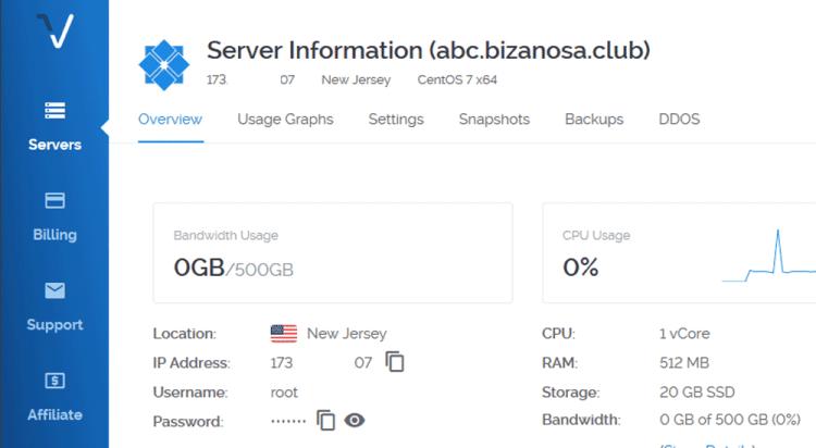 Server details - manage servr