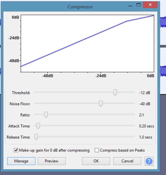 The default Audacity compressor settings