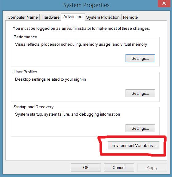 Environment variables windows control panel