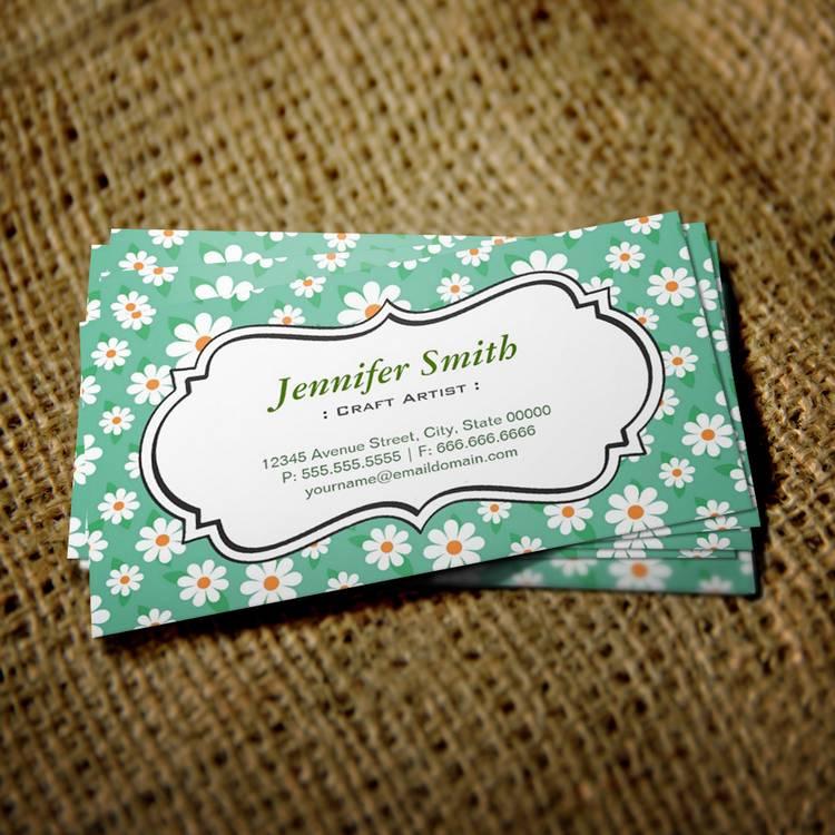 Craft Artist Elegant Green Daisy Business Cards