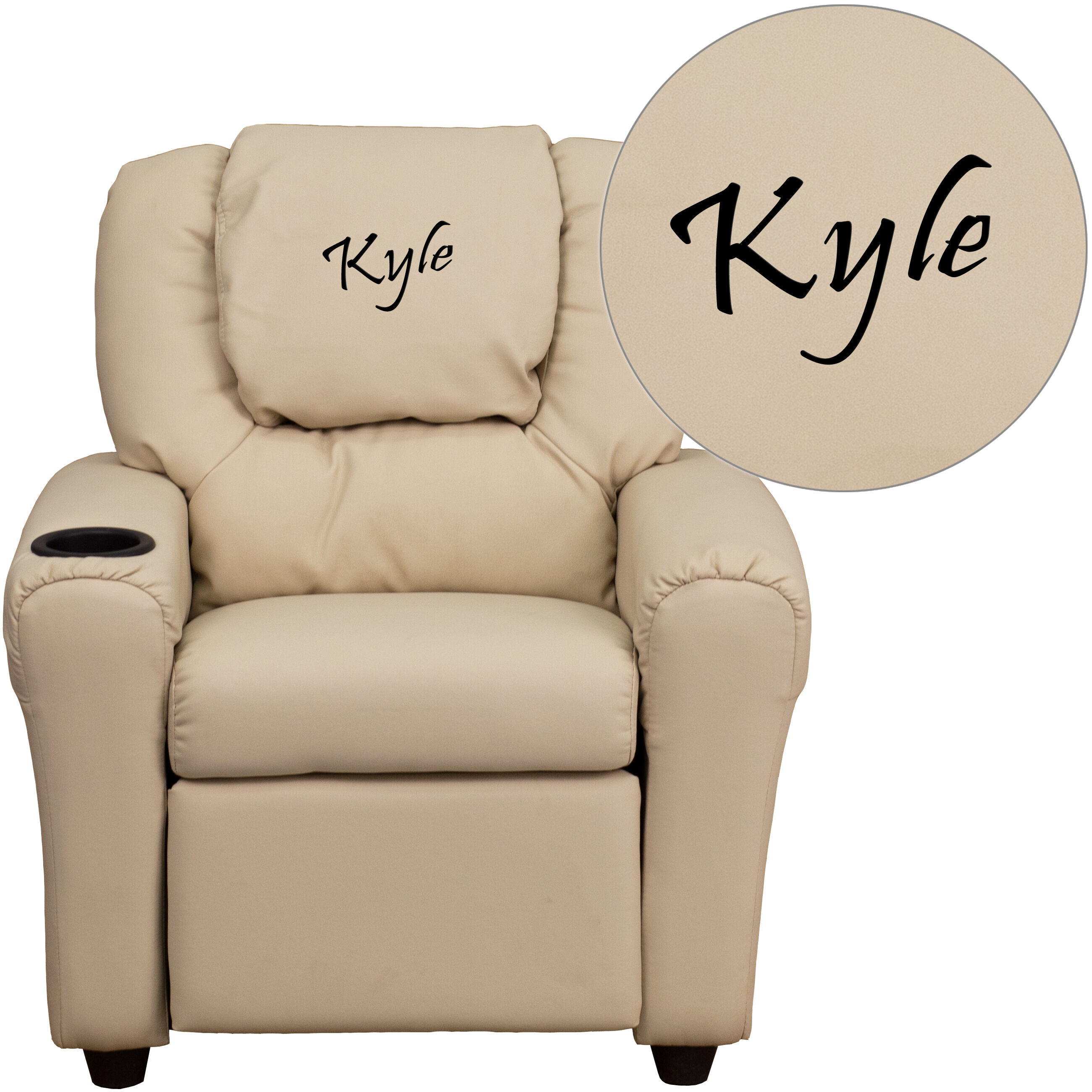 Personalized Kid Chairs Emb Beige Vinyl Kids Recliner Dg Ult Kid Bge Emb Gg