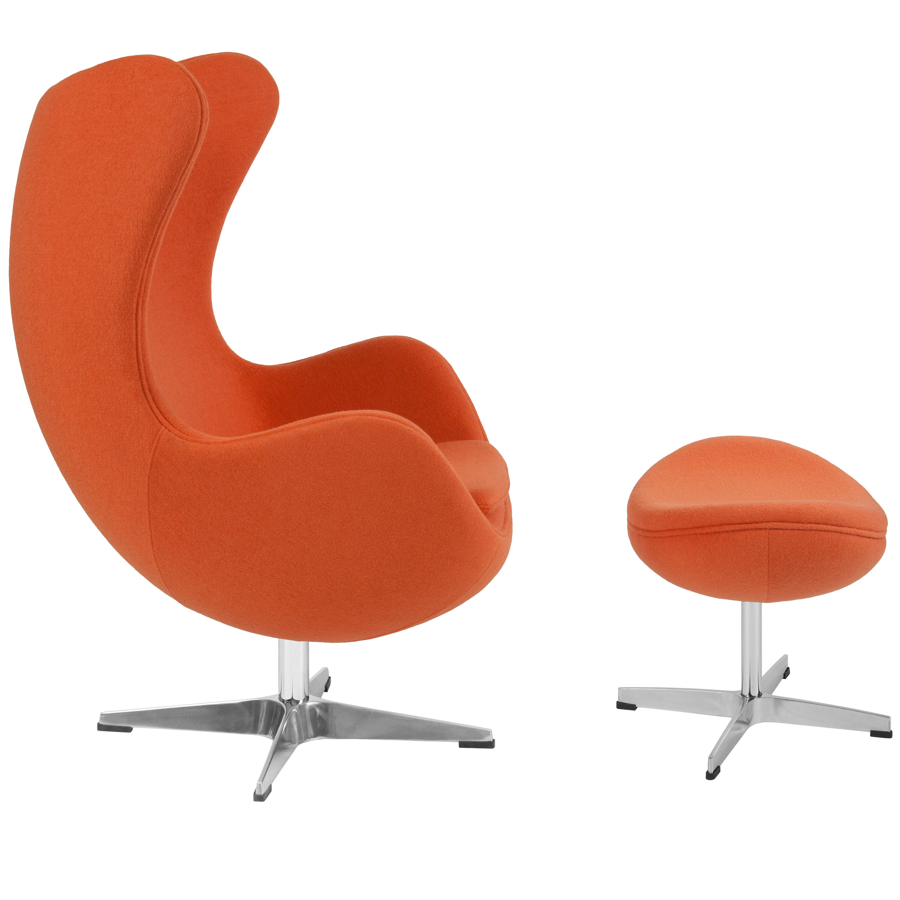 Egg Chair For Sale Orange Wool Fabric Egg Chair With Tilt Lock Mechanism And Ottoman