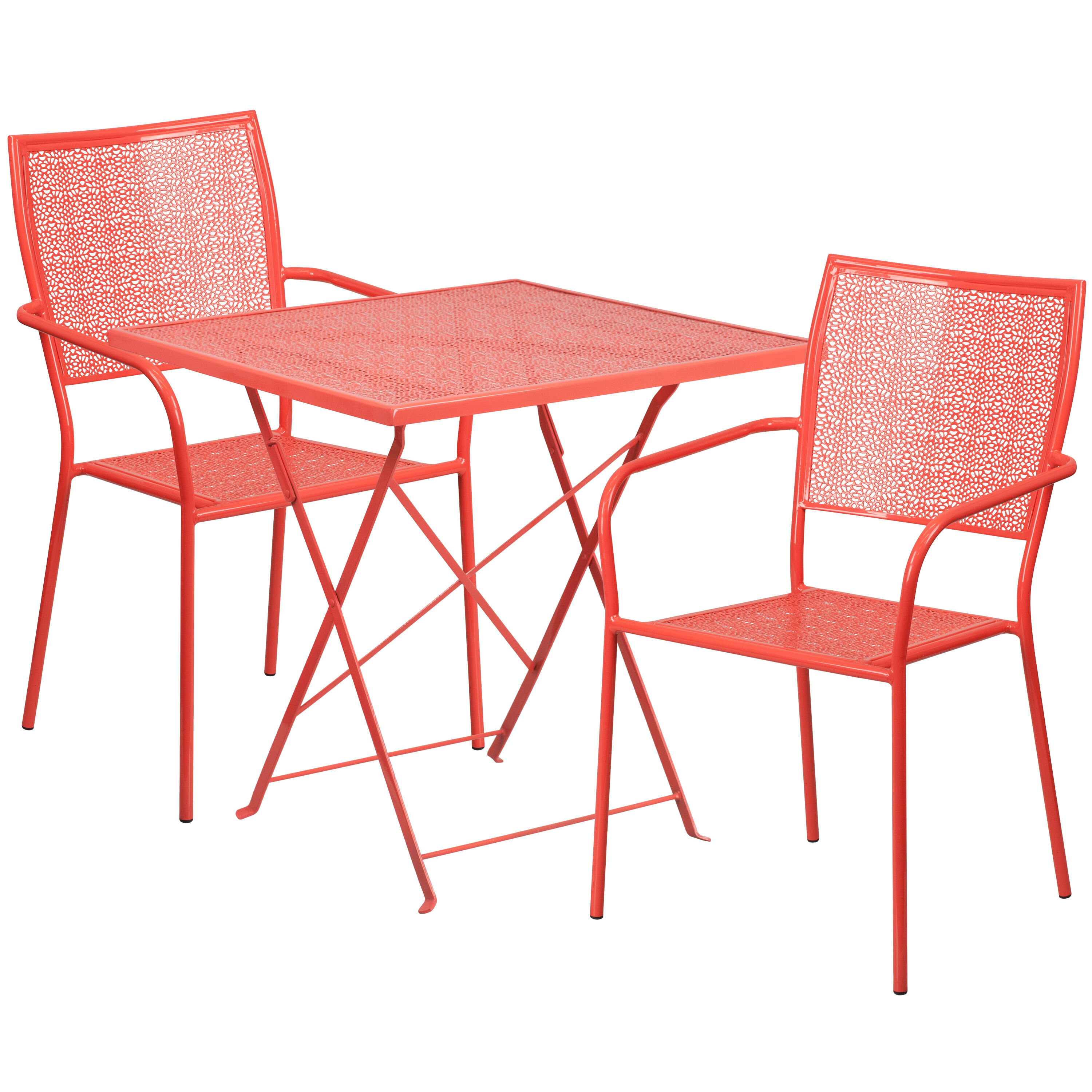 Red Patio Chairs 28 Square Coral Indoor Outdoor Steel Folding Patio Table Set With 2 Square Back Chairs