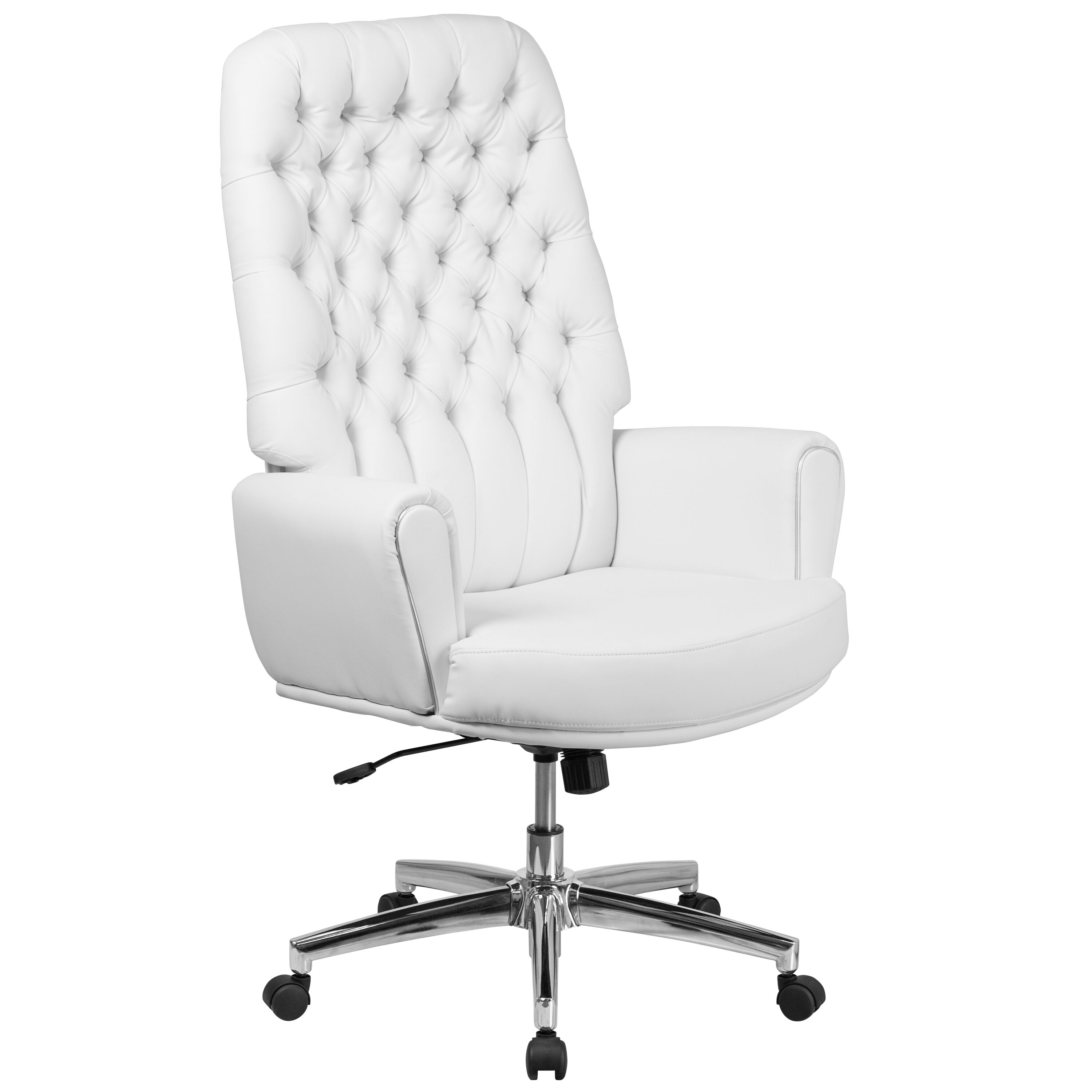 White Swivel Desk Chair High Back Traditional Tufted White Leather Executive