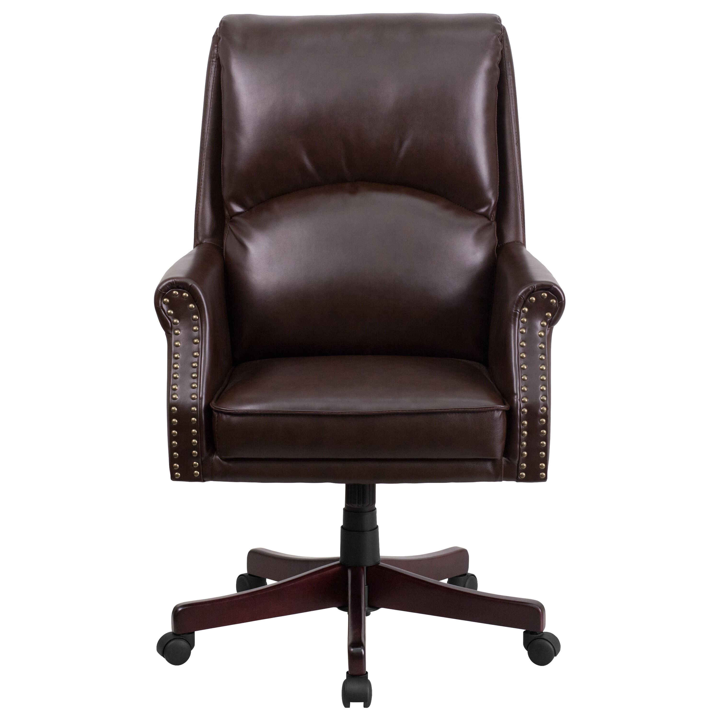 Executive Leather Chair High Back Pillow Back Brown Leather Executive Swivel Office Chair With Arms