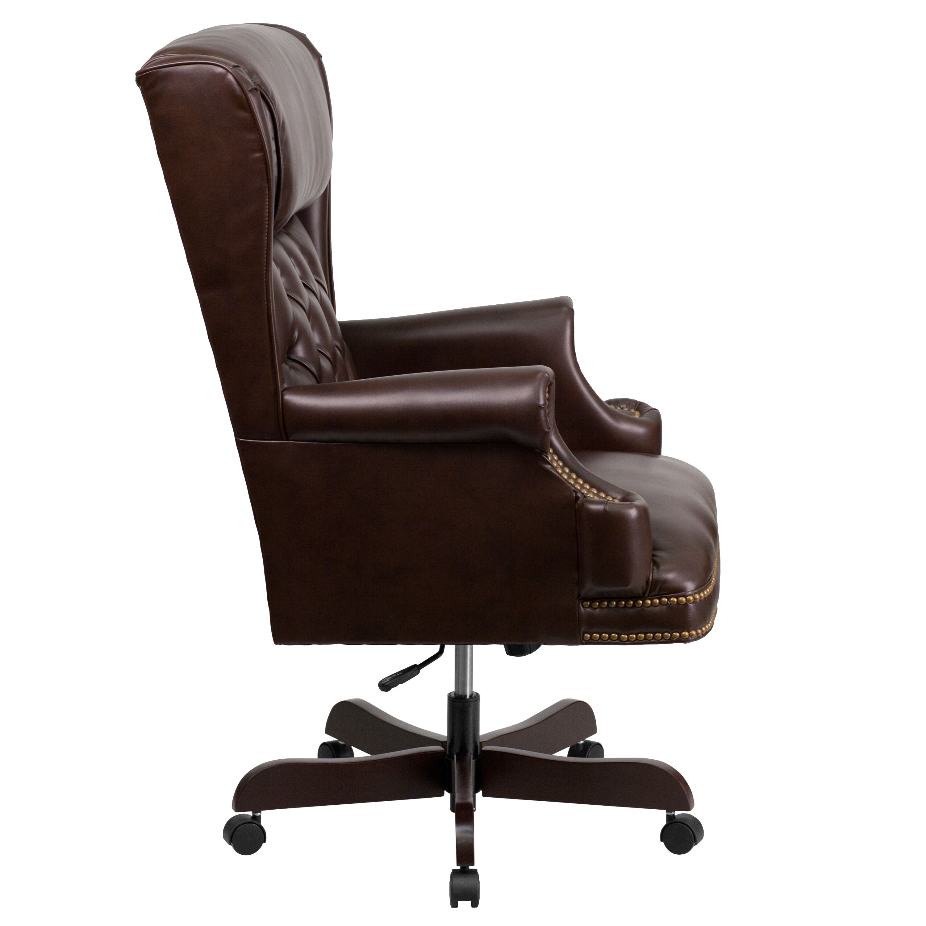 Tufted Leather Office Chair High Back Traditional Tufted Brown Leather Executive Ergonomic Office Chair With Oversized Headrest Nail Trim Arms