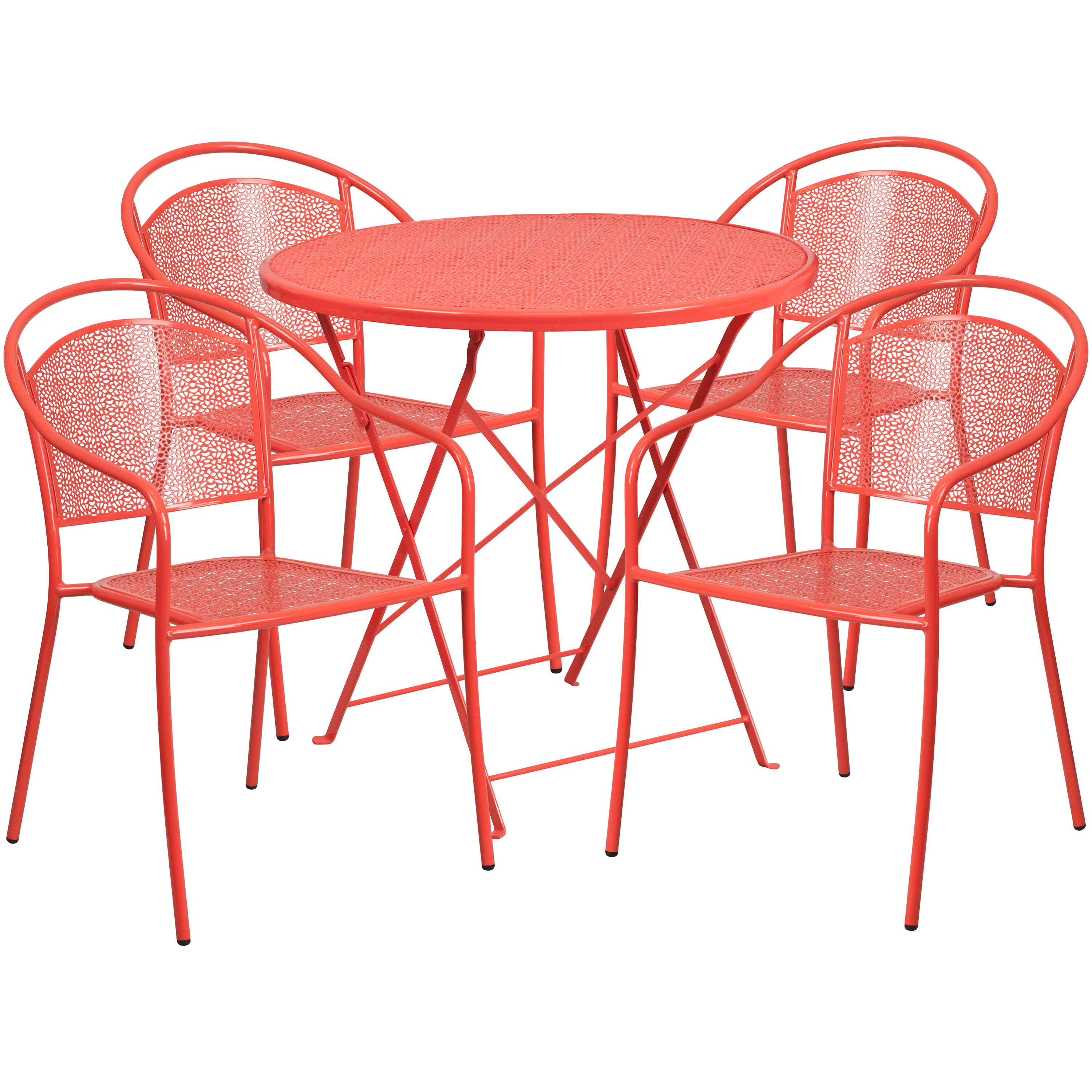 Red Patio Chairs 30 Round Coral Indoor Outdoor Steel Folding Patio Table Set With 4 Round Back Chairs