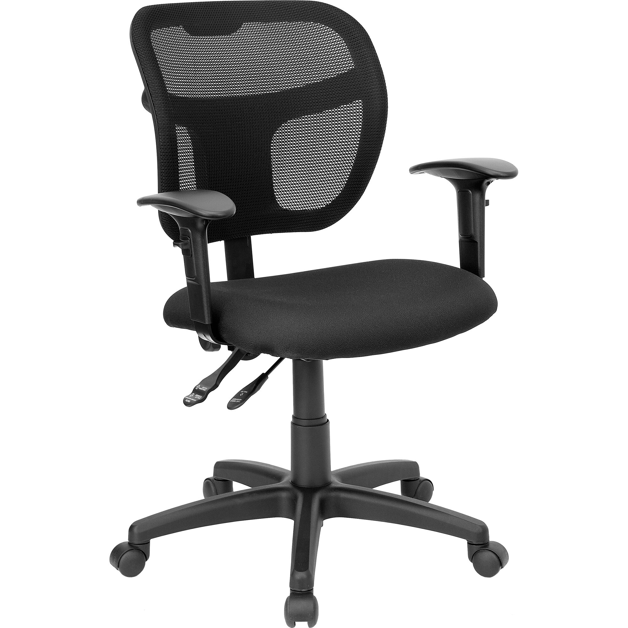 Task Chairs With Arms Mid Back Black Mesh Swivel Task Office Chair With Back Height Adjustment And Adjustable Arms