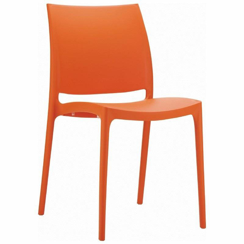 Stacking Dining Chairs Maya Outdoor Polypropylene Stackable Dining Chair Orange