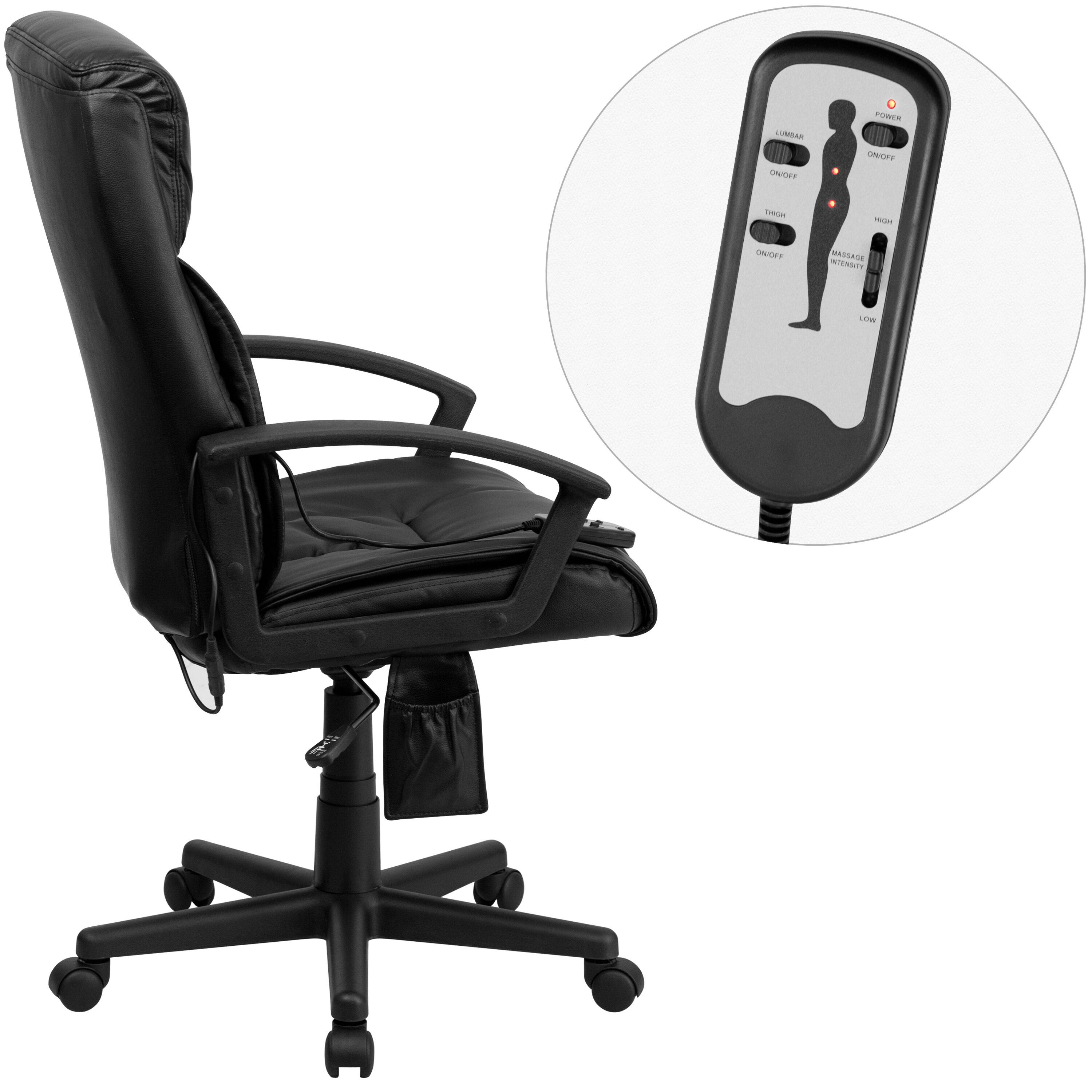 Massage Office Chair High Back Ergonomic Massaging Black Leather Executive Swivel Office Chair With Side Remote Pocket And Arms