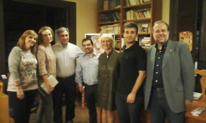 Con Alejandro Corral en la biblioteca de Monegrillo