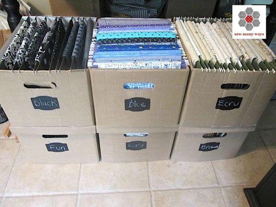pour s'y retrouver, il faut vite organiser ses tissus dans des caisses porte document par exemple