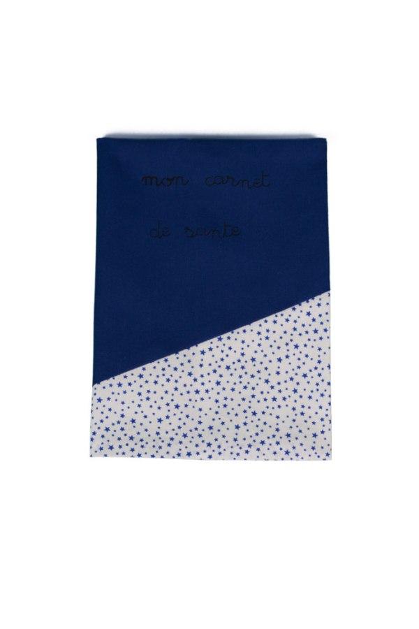 protège carnet de santé bleu et blanc à étoiles bleues
