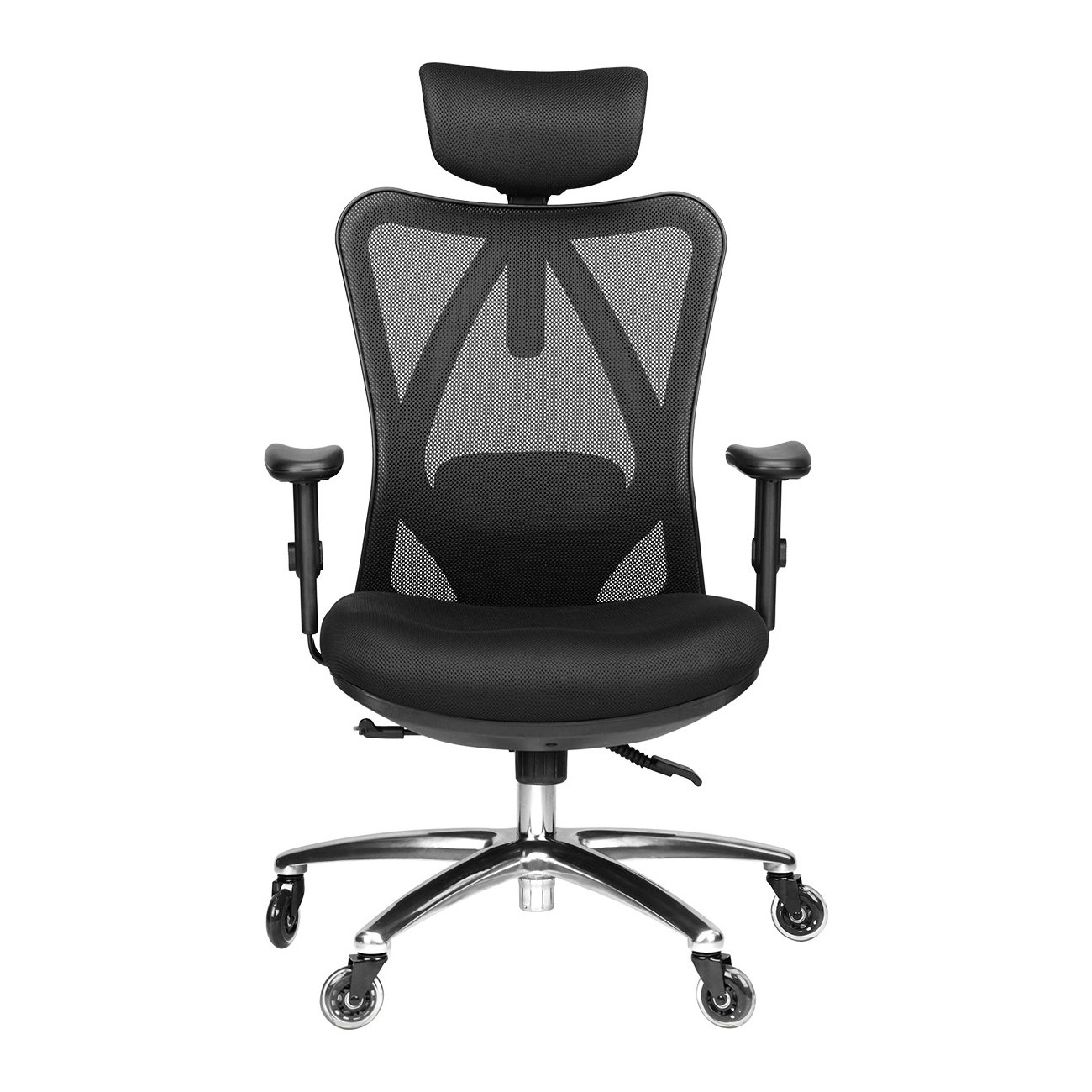 Duramont Ergonomic Adjustable Office Chair With Lumbar Support And Rollerblade Wheels High Back With Breathable Mesh