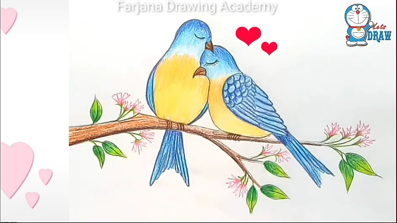 How To Draw Two Birds In Love Step By Step