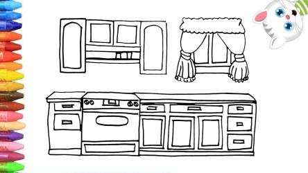 Cómo Dibujar y Colorear Cocina Dibujos Para Niños con MiMi 😺 Aprender Colores