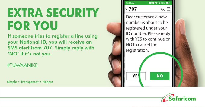Safaricom To Notify You If Someone Tries To Register New Line With Your Id