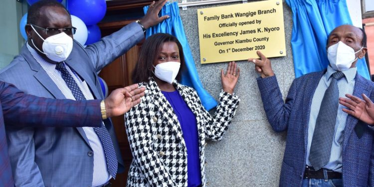 Kiambu County Governor James Nyoro, Family Bank CEO Rebecca Mbithi, Family Bank Director T.K. Muya during the official opening of the bank's 91st branch in Wangige