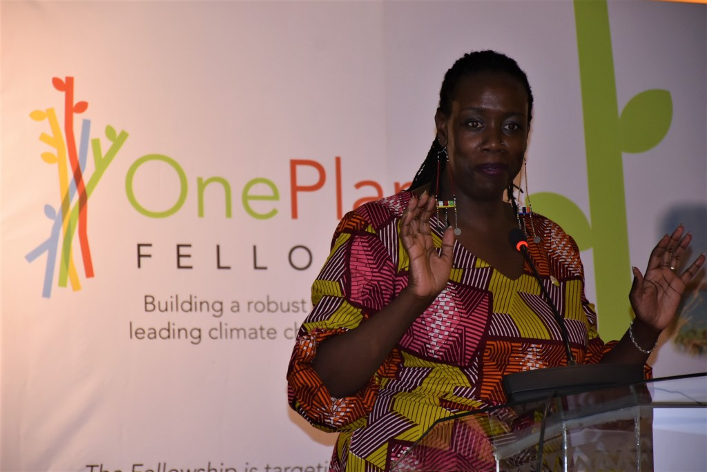 Wanjiru Kamau-Rutenberg, Director, AWARD, addressing participants at the launch of the inaugural cohort of the One Planet Fellowship held in Nairobi Kenya in September 2019 - Bizna Kenya