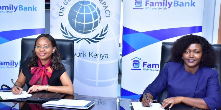 UN Global Compact Kenya Network Executive Director Judy Njino & Family Bank CEO Rebecca Mbithi during the signing ceremony that saw Family Bank become the 4th bank in Kenya to officially join the United Nations Global Compact Network - Bizna Kenya