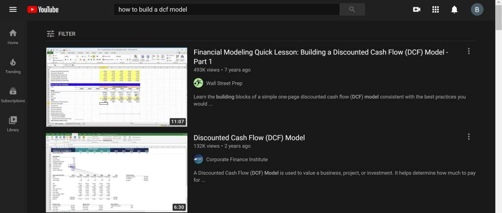 learning financial modeling through youtube