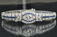 Diamentowo-szafirowa bransoleta Art Deco. Źródło: rubylane.com