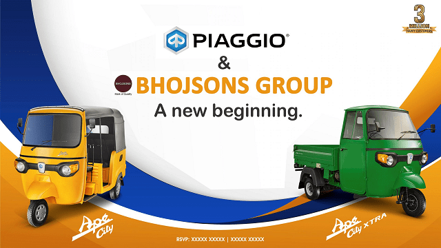 Piaggio Group Partners Bhojsons Group For The Distribution Of Passenger, Cargo 3 Wheelers