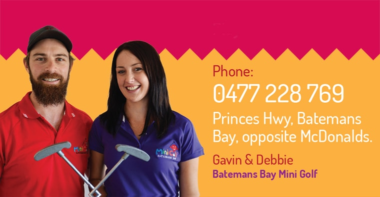 Gavin and Debbie at Batemans Bay mini golf