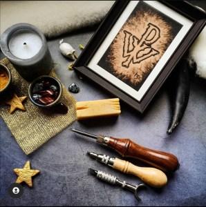tableau en cuir création artisanale bjarken
