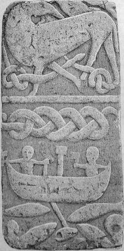 pierre de gosforth représentant Thor et Jormungand (dragons nordiques)