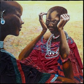 Maasai-The-Telling-Acrylic-Collage-40x40