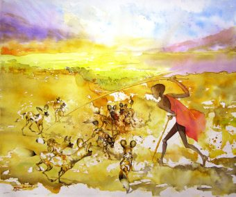 Wild-dogs-Attack-Rift-valley-Watercolour-44x66-Private-collection