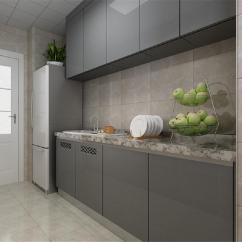 Grey Kitchen Tile New Sink Installation 厨房的设计很简单 用深色的墙砖和银灰色的橱柜搭配 整体显得很干净 用深色的墙砖和银灰色的