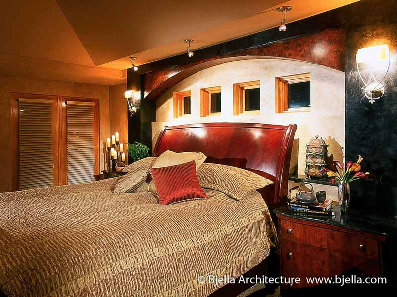 Arteriors Architecture - Traditional Bedroom Design with Arched Wall by Tim Bjella
