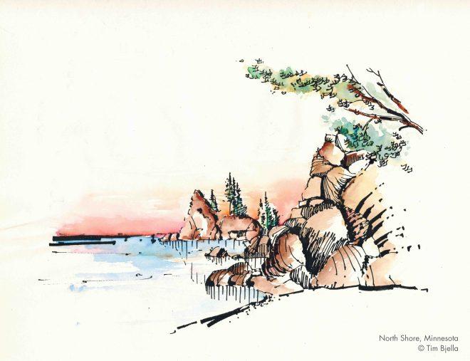 Tim Bjella Sketches - North Shore, Minnesota