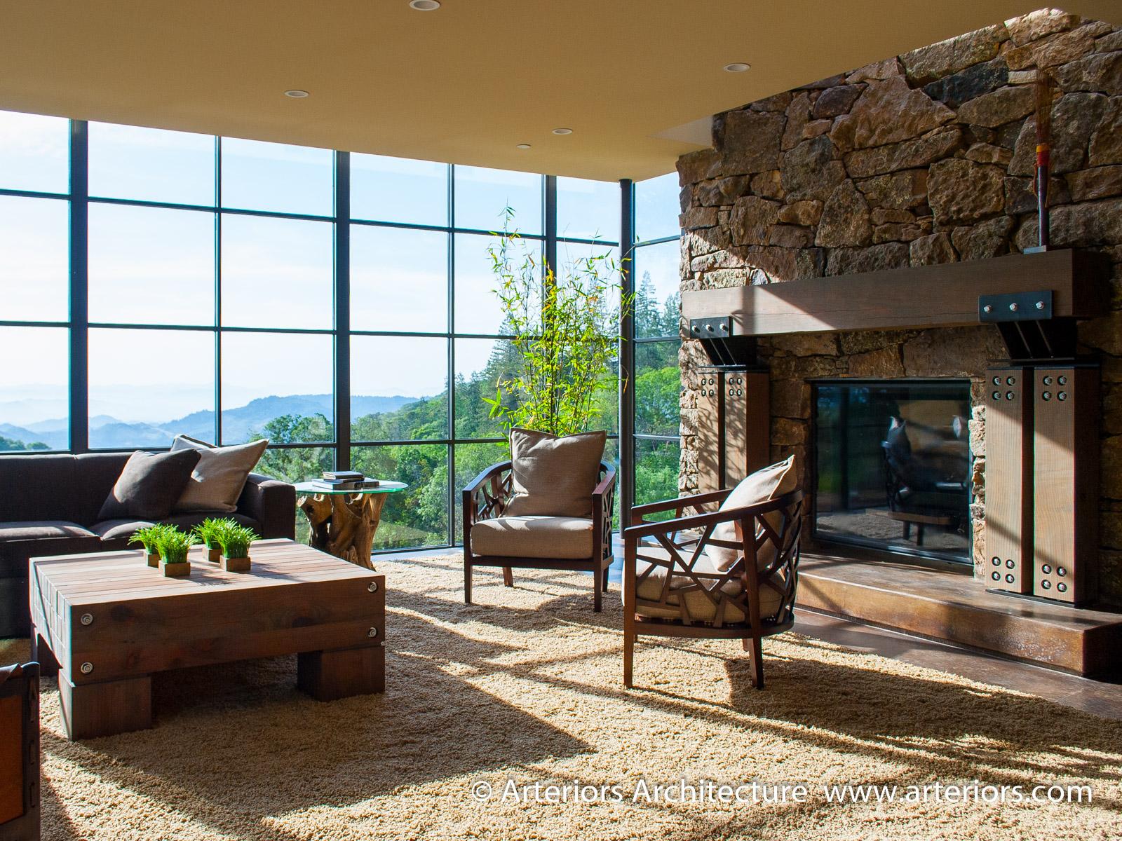 Modern Sonoma California Glass House on Vineyard - Living Room 2