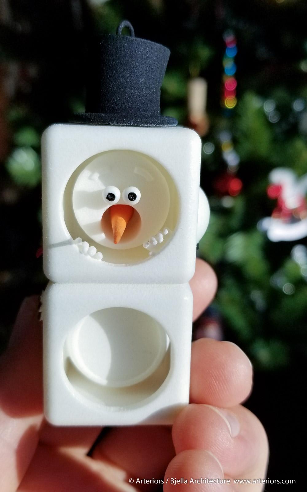 Snowman Ornament 2 - 3d printed - by Tim Bjella-1