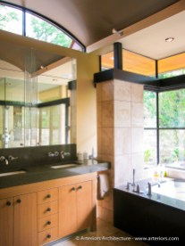 Contemporary Glass Bathroom by Tim Bjella - Arteriors Architects