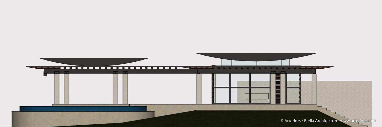 Modern Glass Island Home Elevation by Arteriors Architects