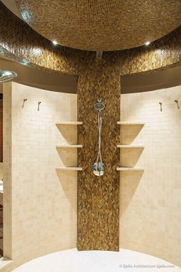 Modern cylindrical glass tile shower