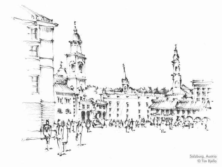 Sketch of Salzburg square, Austria