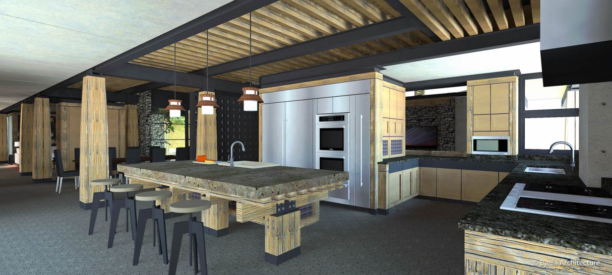 Modern Lodge Kitchen with Heavy Timber and Steel