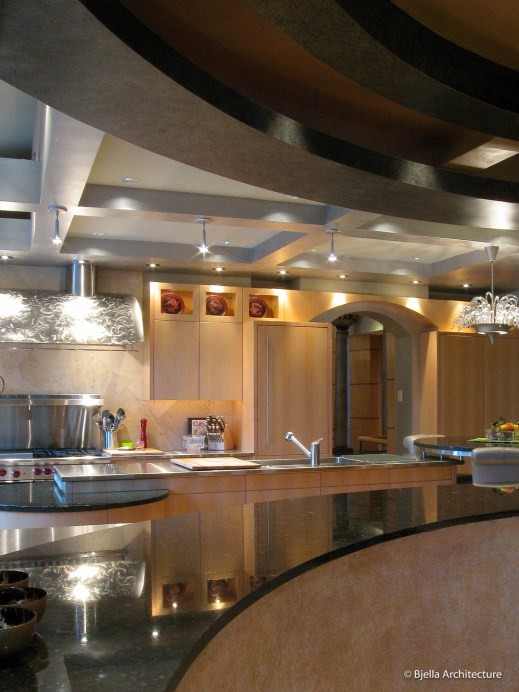 Modern Asian Kitchen with Curved Coffered Ceiling