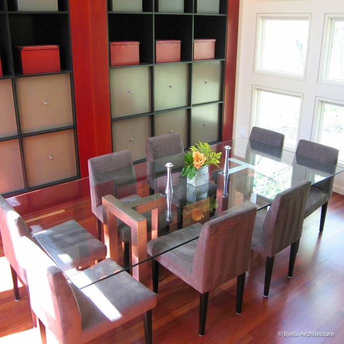Modern Red Dining Room with Cube Box Storage Wall