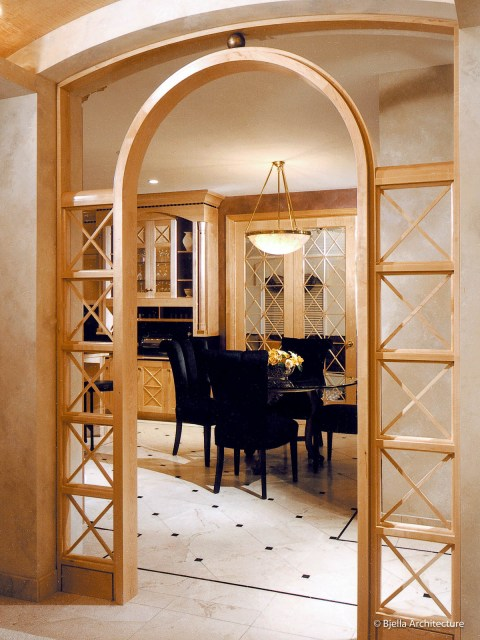 Classical Kitchen with Arched Wood Screen Entry