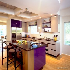 Glossy Purple and Gray Modern Kitchen with Curved Coffer Ceiling