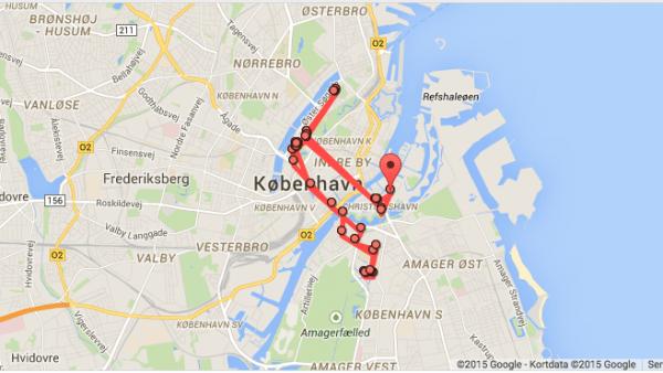 En dag i mit liv - i følge Googles Placeringshistorik. Ikke den mest spændende dag, tror jeg ... :-)