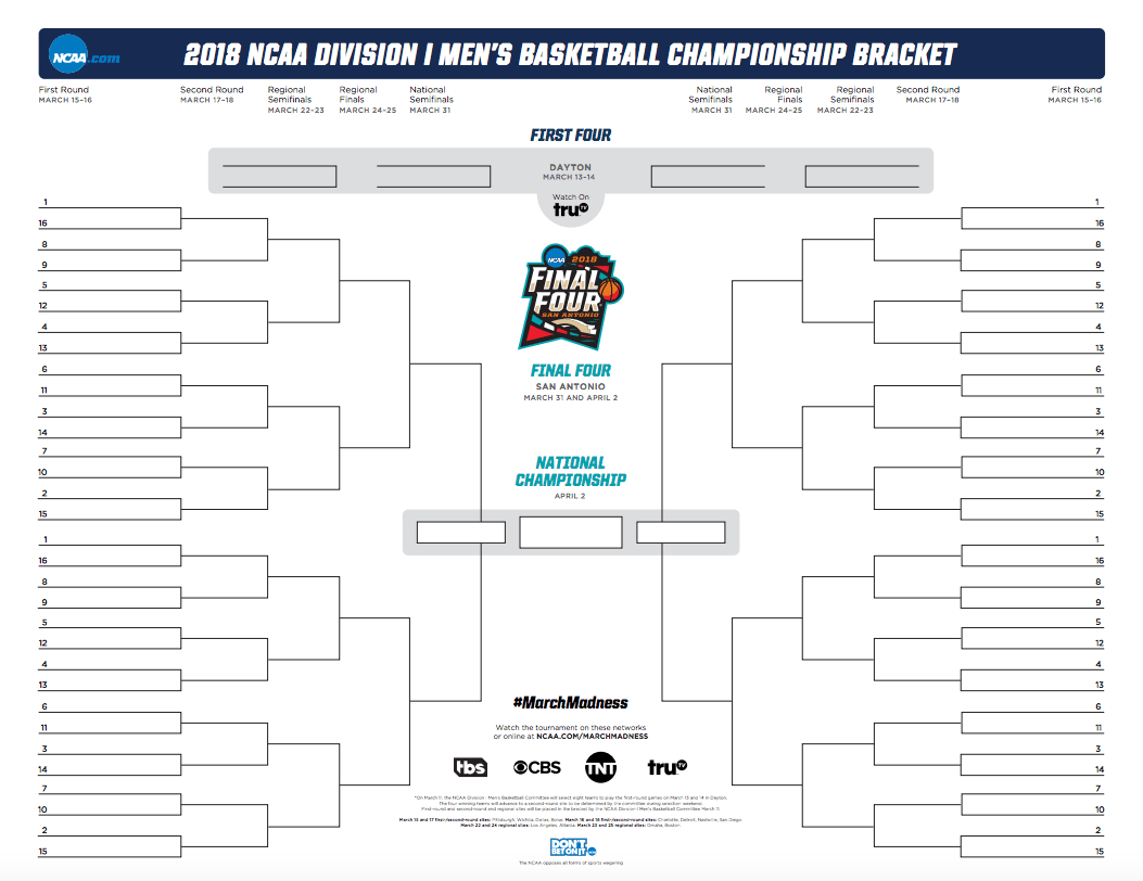 fill out ncaa bracket and print