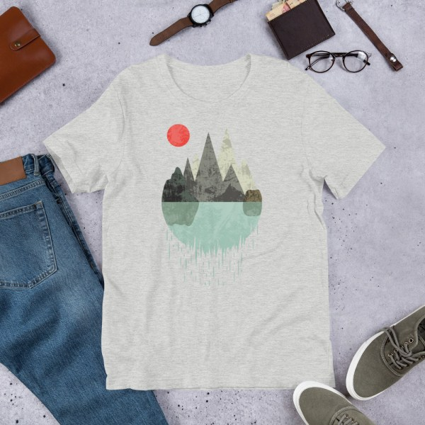 T-Shirt Geometric Graphic design - Mountains Lake Sun 6
