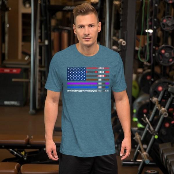 BJJ T-Shirt  for men - BJJ belts and stripes in American Flag 4